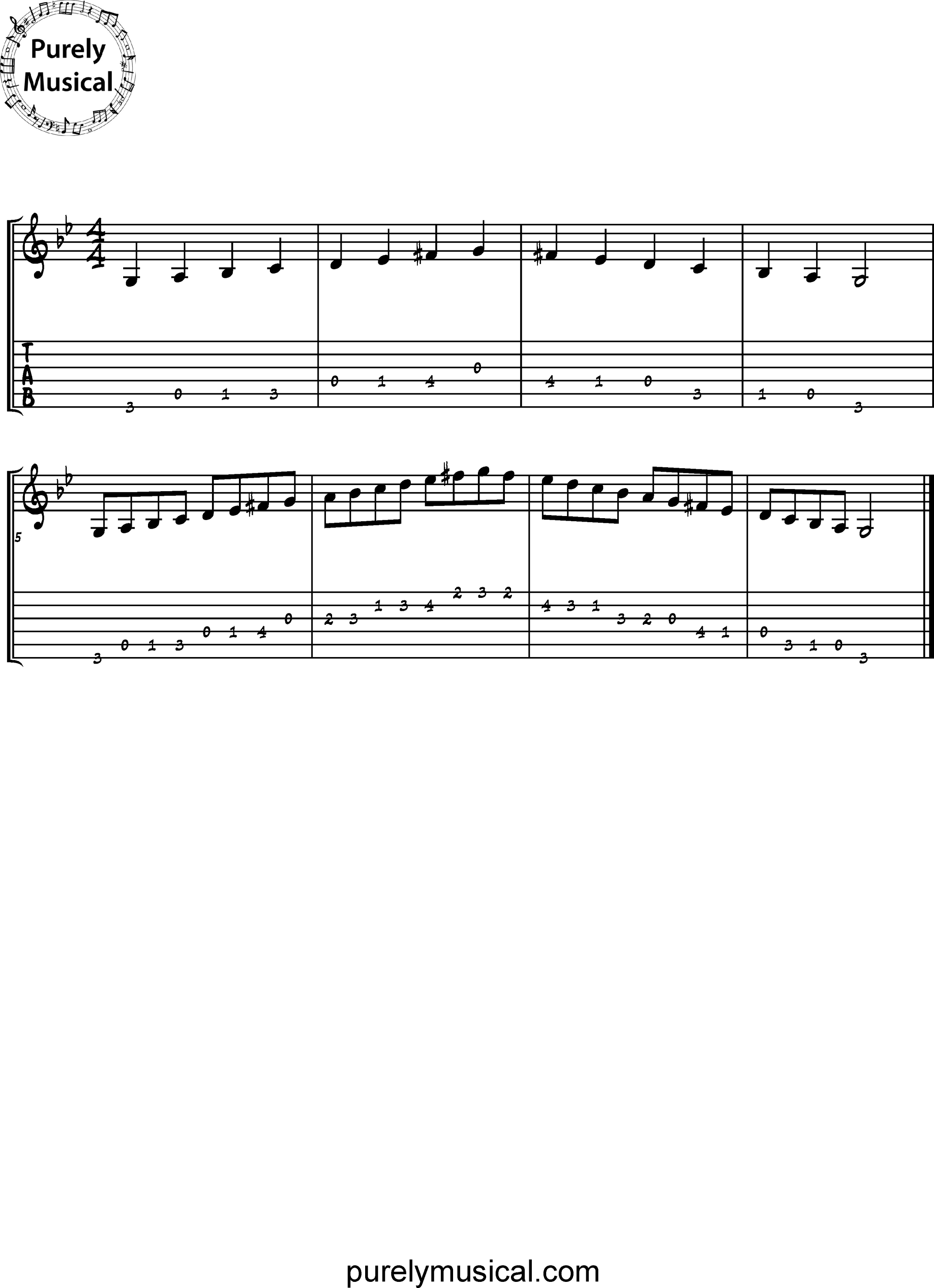 Beginner  Scale G Harmonic Minor