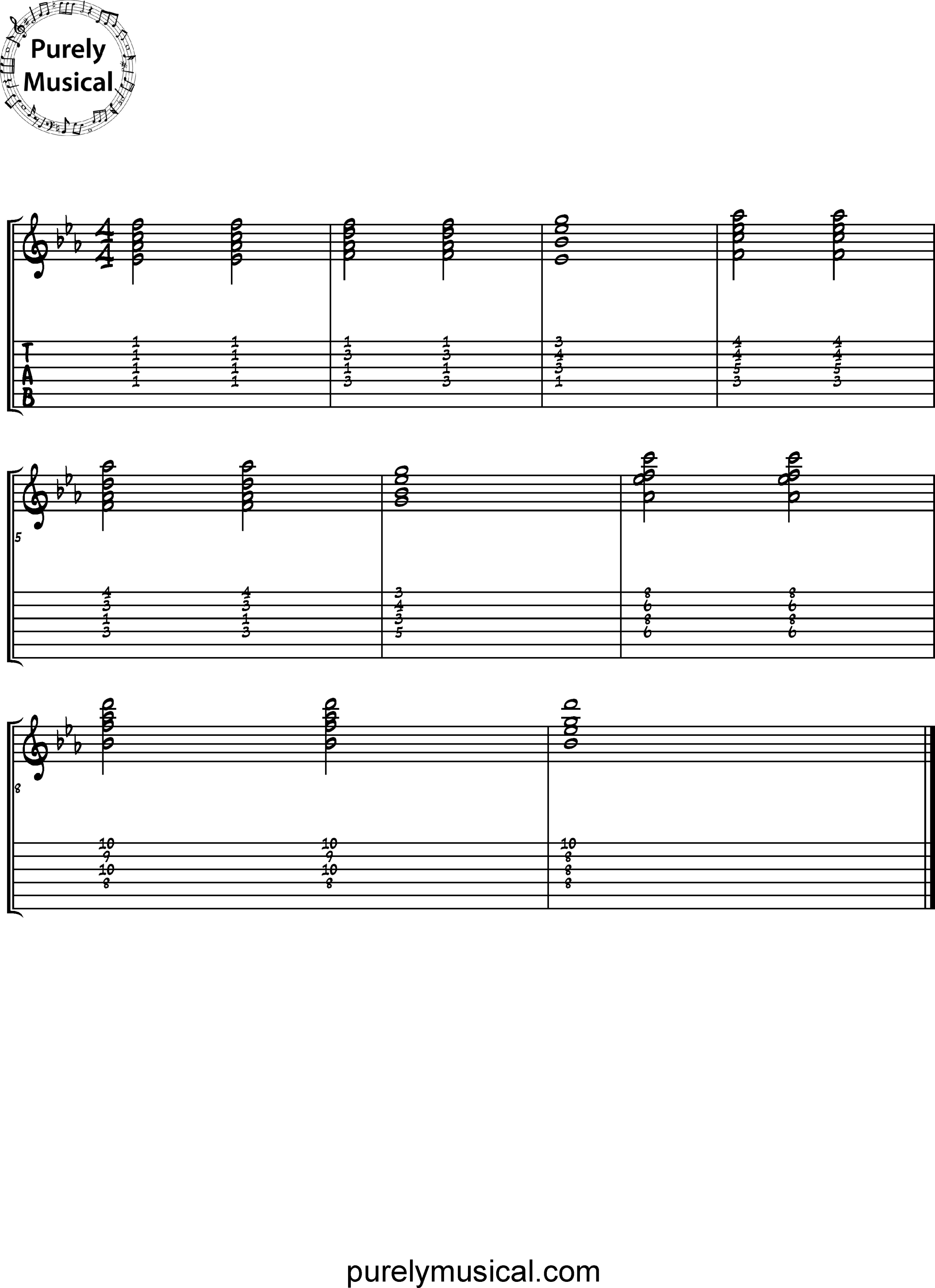 Intermediate  Chord Sequence Eb Major Ii-Vi-I