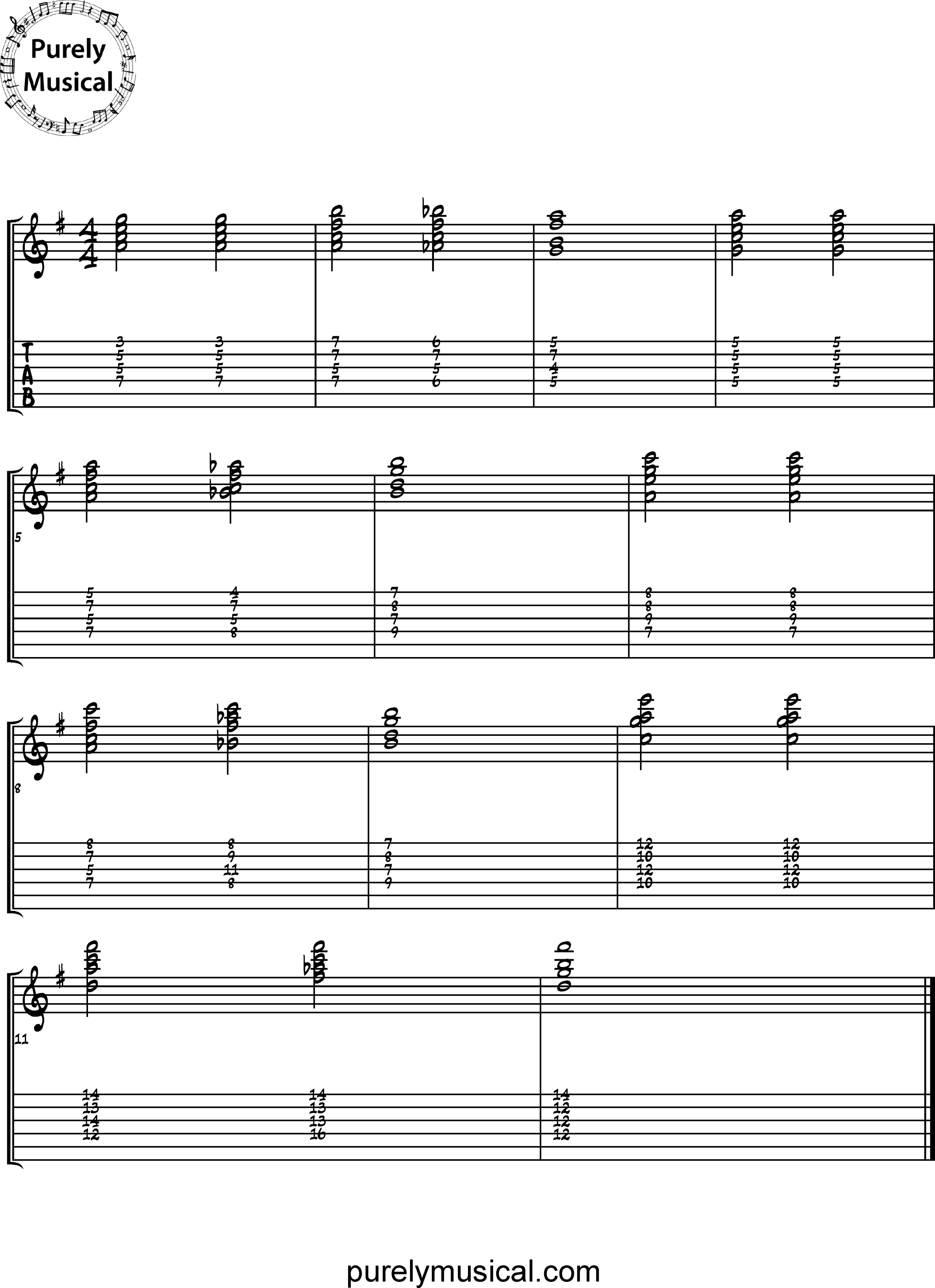 Advanced  Chord Sequence G Major Tritone Substitution
