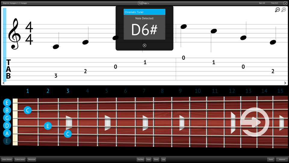 Purely Electric Guitar Screenshot Chromatic Tuner