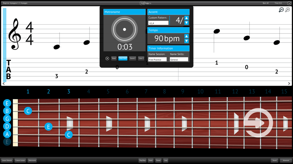 Purely Electric Guitar Screenshot Custom Metronome