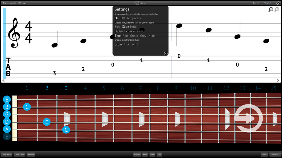 Purely Electric Guitar Screenshot Settings