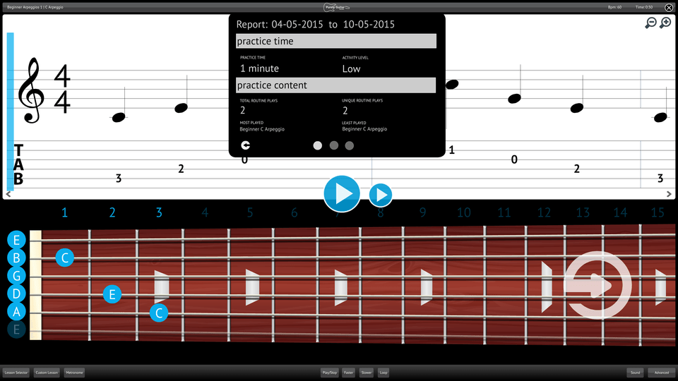 Purely Electric Guitar Screenshot Reporting Measuring Progress